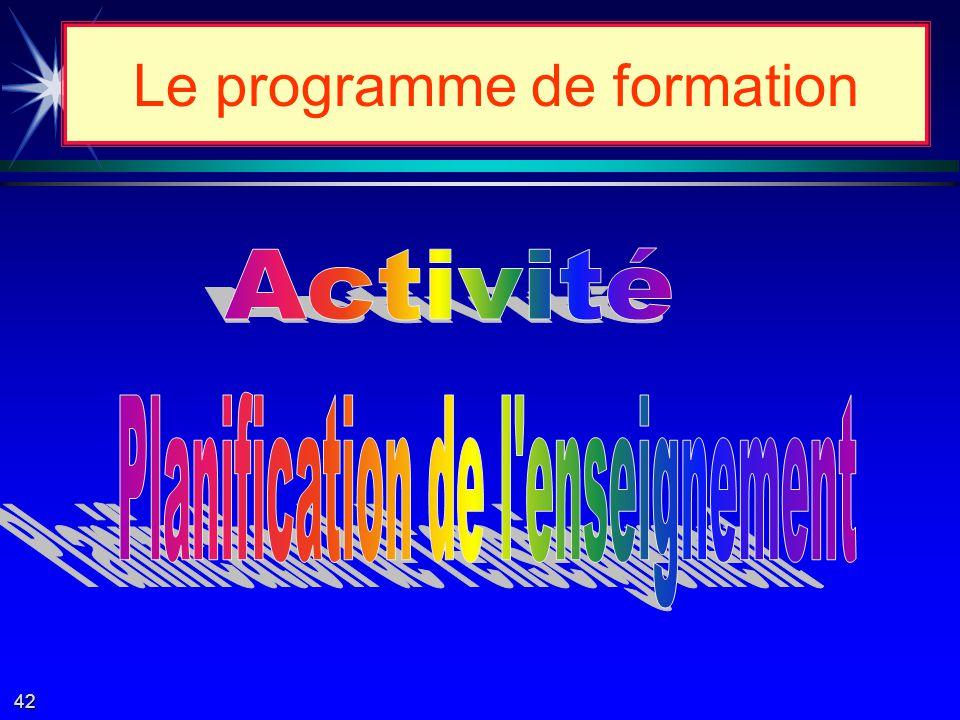 Le programme de formation 41