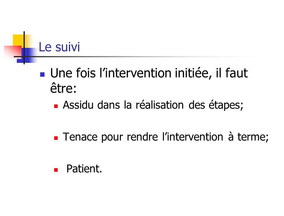 Le suivi Une fois lintervention initiée, il faut être: Assidu dans la réalisation des étapes; Tenace pour rendre lintervention à terme; Patient.