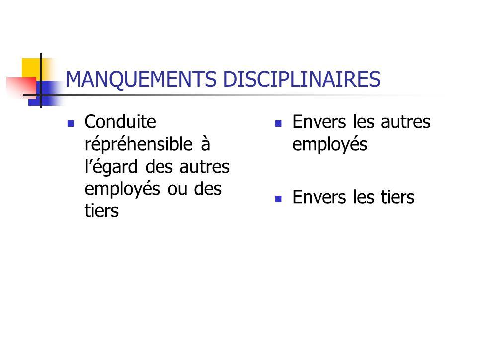 MANQUEMENTS DISCIPLINAIRES Conduite répréhensible à légard des autres employés ou des tiers Envers les autres employés Envers les tiers