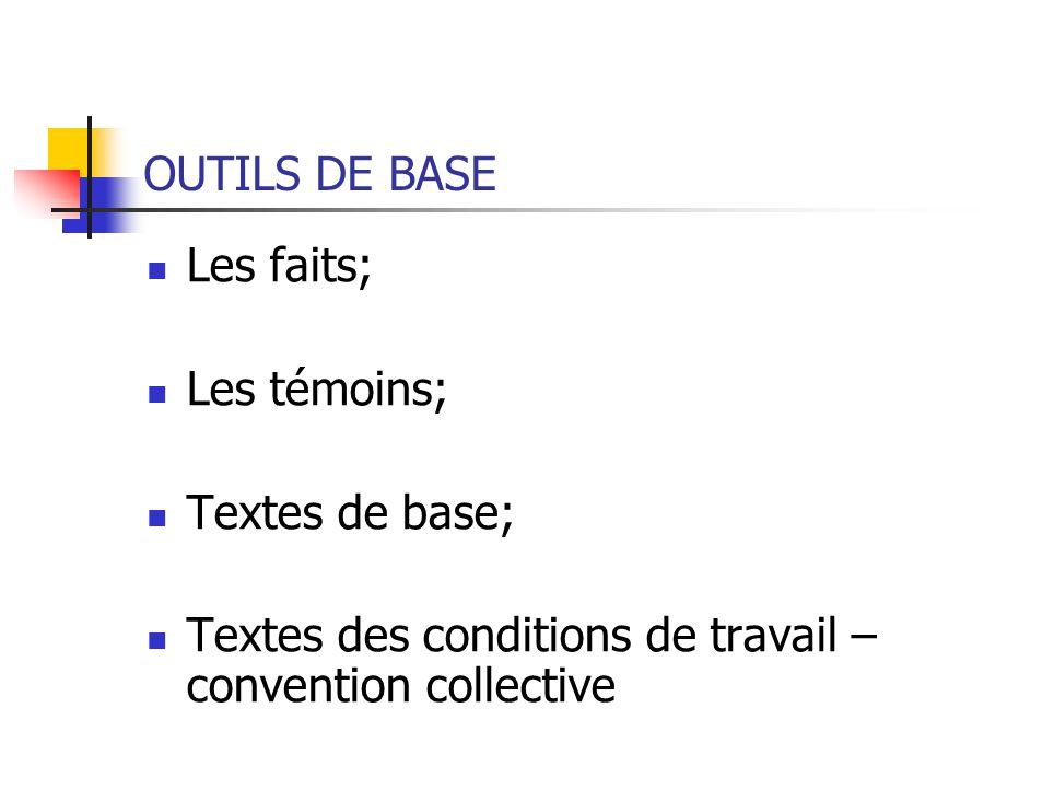 OUTILS DE BASE Les faits; Les témoins; Textes de base; Textes des conditions de travail – convention collective
