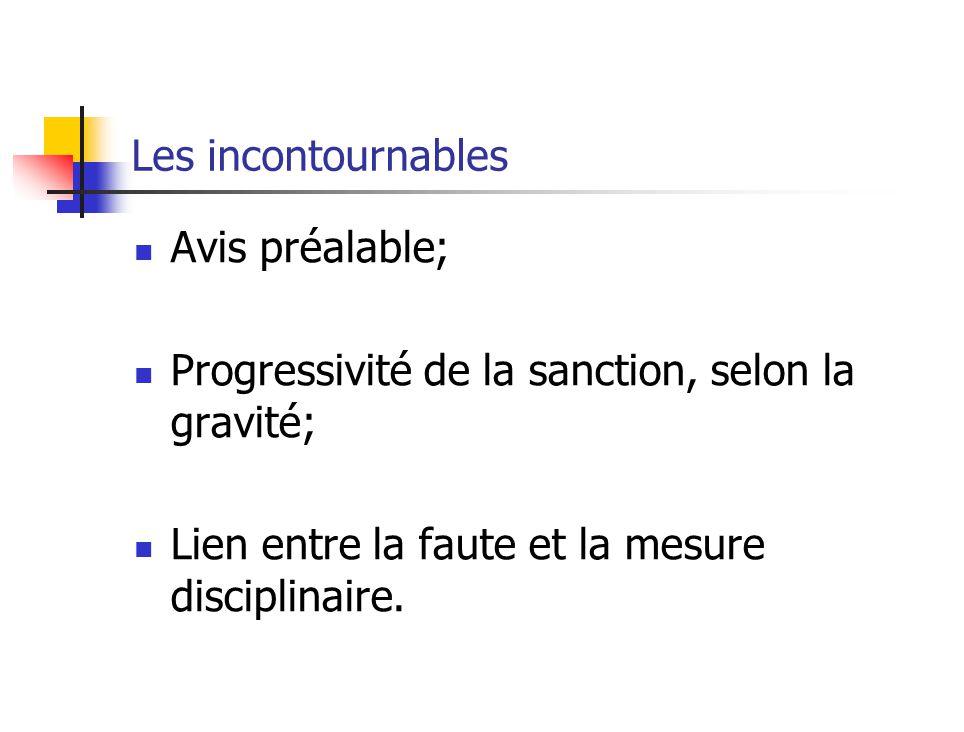Les incontournables Avis préalable; Progressivité de la sanction, selon la gravité; Lien entre la faute et la mesure disciplinaire.