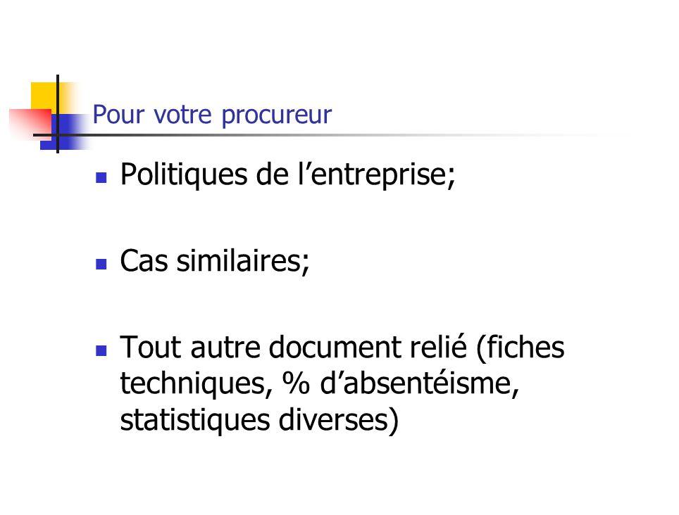 Pour votre procureur Politiques de lentreprise; Cas similaires; Tout autre document relié (fiches techniques, % dabsentéisme, statistiques diverses)