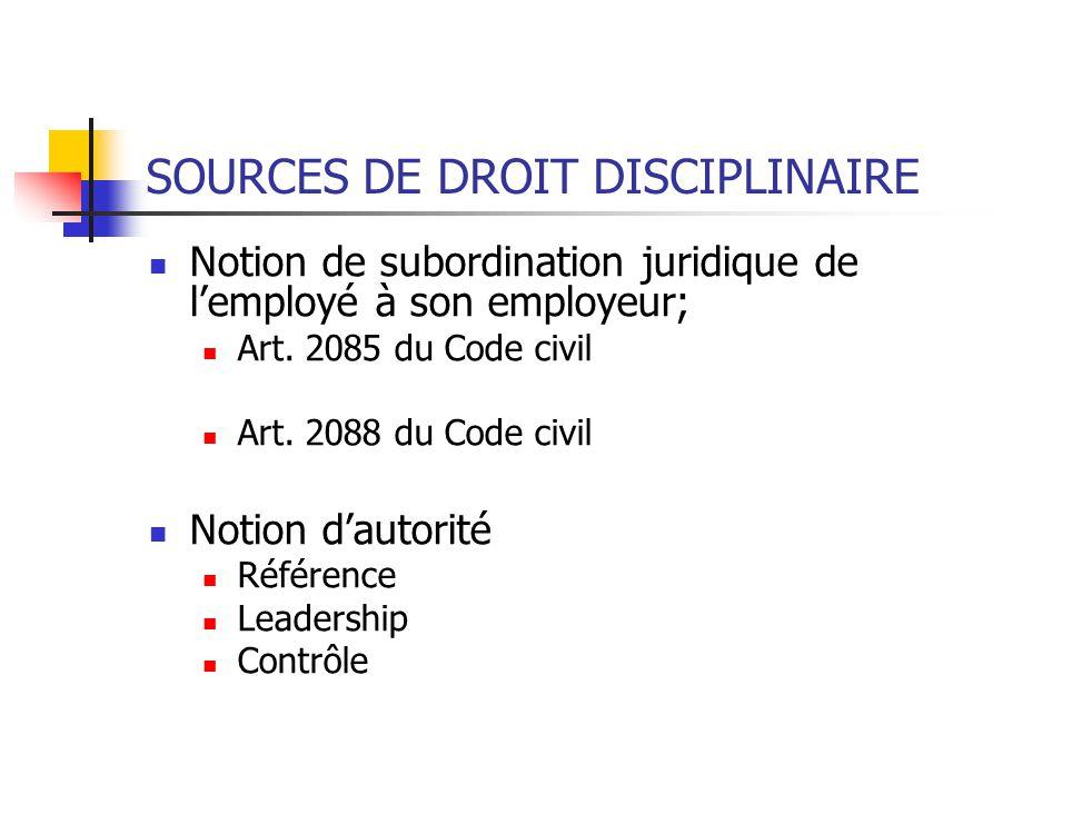 SOURCES DE DROIT DISCIPLINAIRE Notion de subordination juridique de lemployé à son employeur; Art.