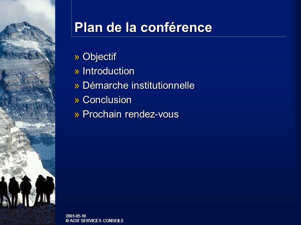 2001-05-10 © AGTI SERVICES CONSEILS 2001-05-10 © AGTI SERVICES CONSEILS Plan de la conférence » Objectif » Introduction » Démarche institutionnelle » Conclusion » Prochain rendez-vous