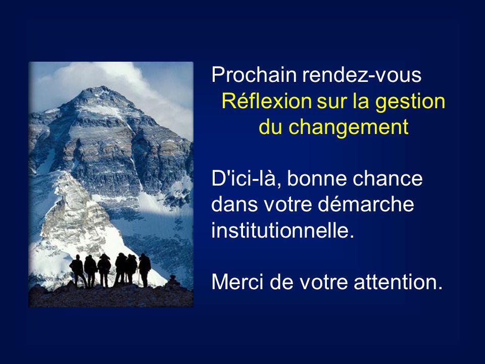 Prochain rendez-vous Réflexion sur la gestion du changement D ici-là, bonne chance dans votre démarche institutionnelle.