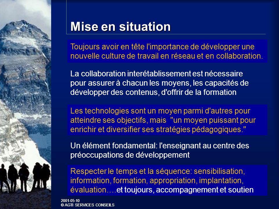 2001-05-10 © AGTI SERVICES CONSEILS 2001-05-10 © AGTI SERVICES CONSEILS Mise en situation.