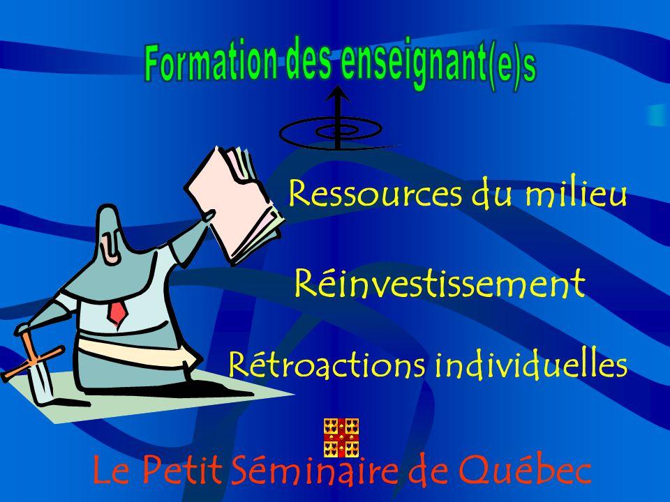 Ressources du milieu Réinvestissement Rétroactions individuelles