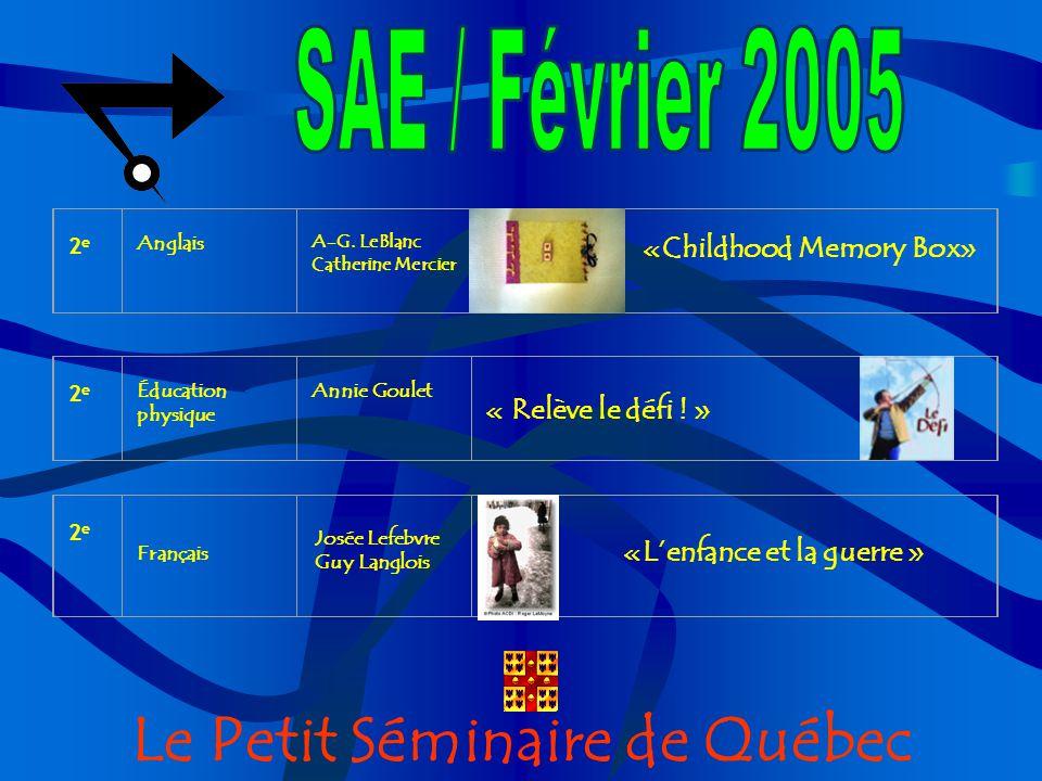 Le Petit Séminaire de Québec 2e 2e Anglais A-G.