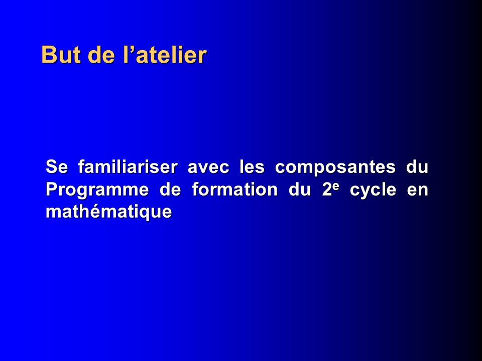But de latelier Se familiariser avec les composantes du Programme de formation du 2 e cycle en mathématique