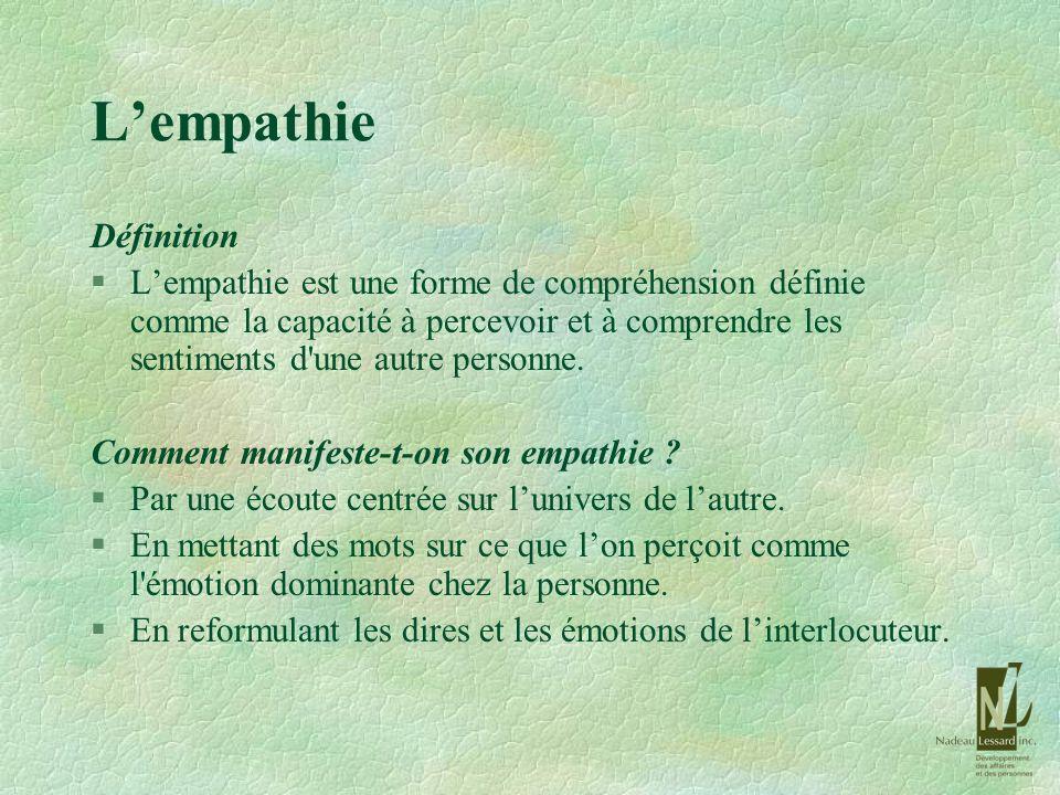 Lempathie Définition §Lempathie est une forme de compréhension définie comme la capacité à percevoir et à comprendre les sentiments d'une autre person