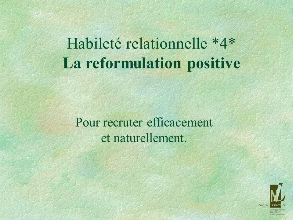 Habileté relationnelle *4* La reformulation positive Pour recruter efficacement et naturellement.