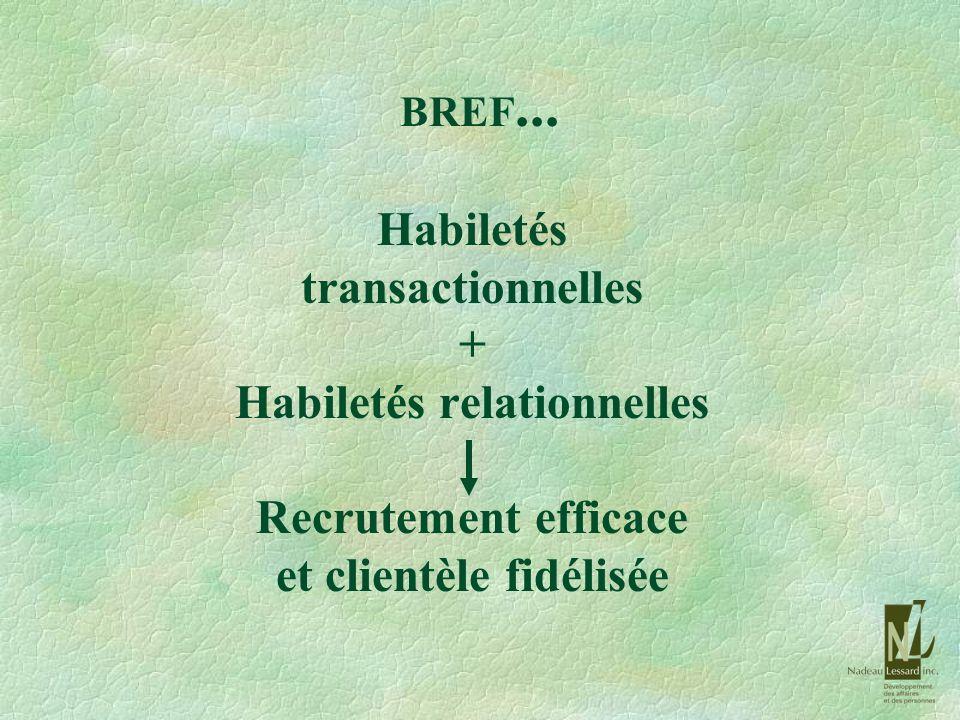 BREF... Habiletés transactionnelles + Habiletés relationnelles Recrutement efficace et clientèle fidélisée