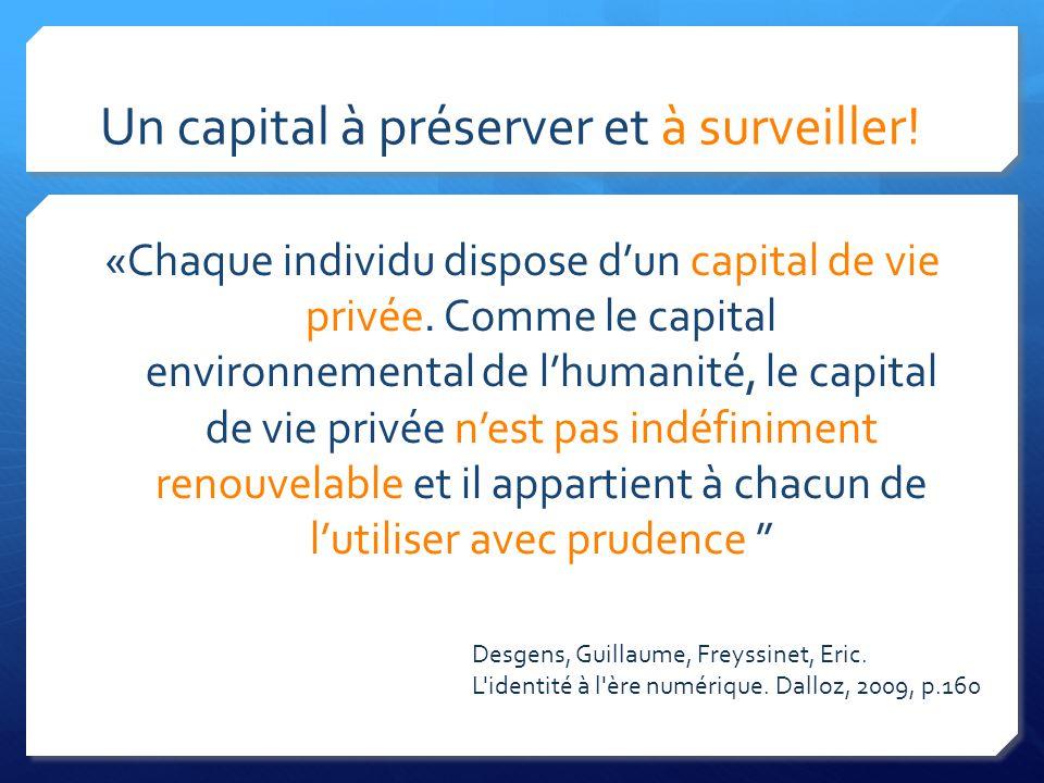 Un capital à préserver et à surveiller. «Chaque individu dispose dun capital de vie privée.