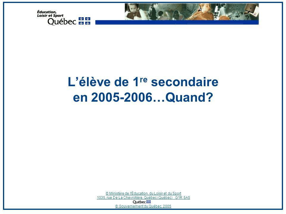 © Ministère de l Éducation, du Loisir et du Sport 1035, rue De La Chevrotière, Québec (Québec) G1R 5A5 © Gouvernement du Québec, 2005 Questions et commentaires