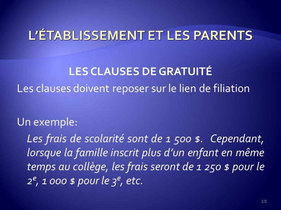 LES CLAUSES DE GRATUITÉ Les clauses doivent reposer sur le lien de filiation Un exemple: Les frais de scolarité sont de 1 500 $.