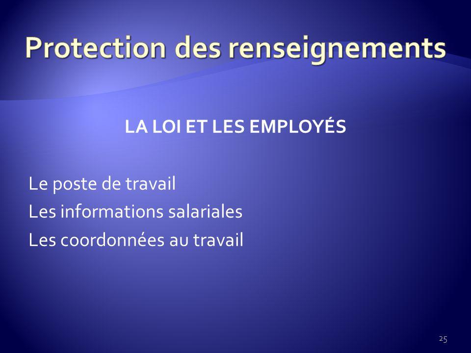 LA LOI ET LES EMPLOYÉS Le poste de travail Les informations salariales Les coordonnées au travail 25