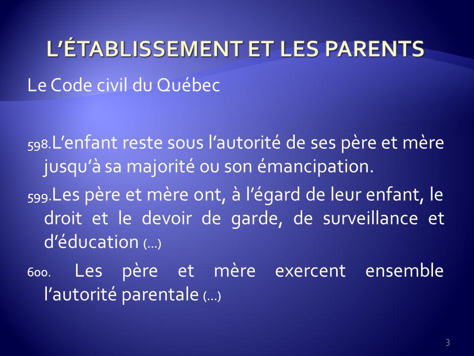 Le Code civil du Québec 598.