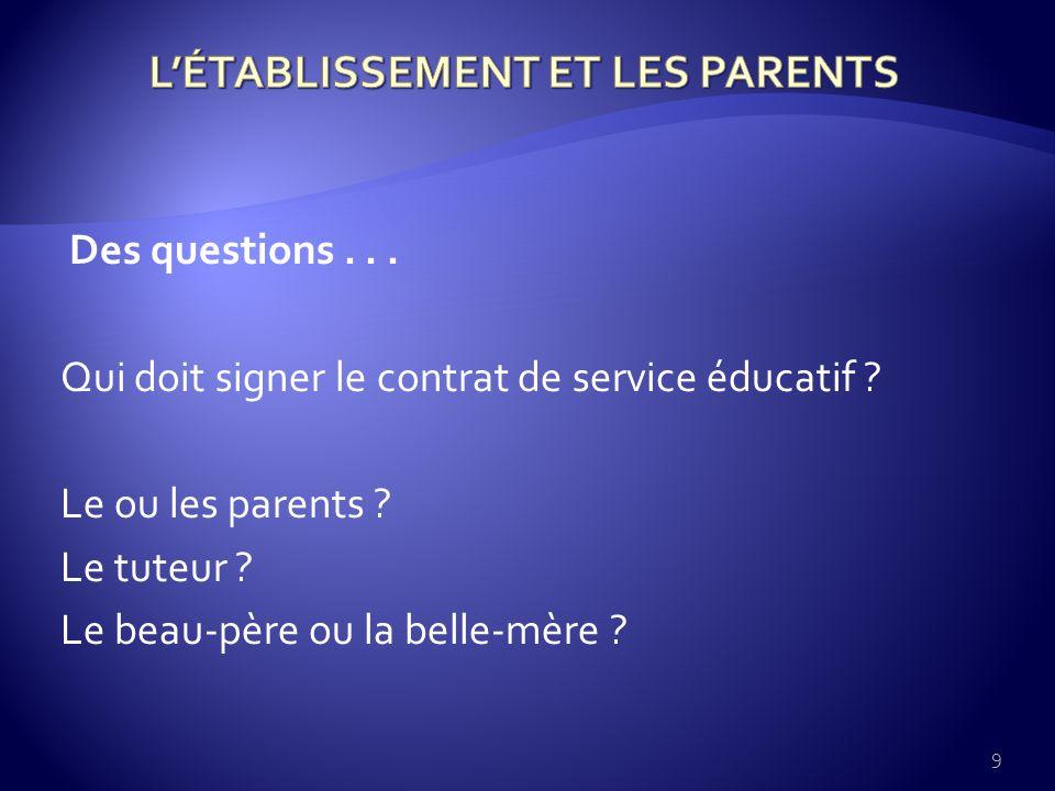 Des questions... Qui doit signer le contrat de service éducatif .