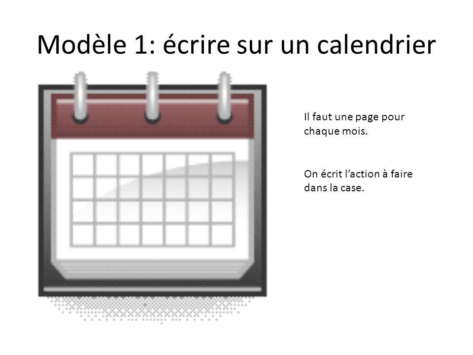 Modèle 1: écrire sur un calendrier Il faut une page pour chaque mois. On écrit laction à faire dans la case.