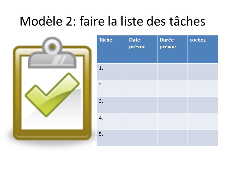 Modèle 2: faire la liste des tâches TâcheDate prévue Durée prévue cochez 1. 2. 3. 4. 5.