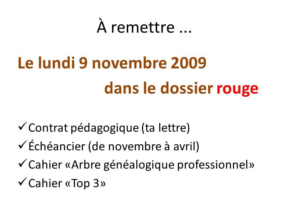 À remettre... Le lundi 9 novembre 2009 dans le dossier rouge Contrat pédagogique (ta lettre) Échéancier (de novembre à avril) Cahier «Arbre généalogiq