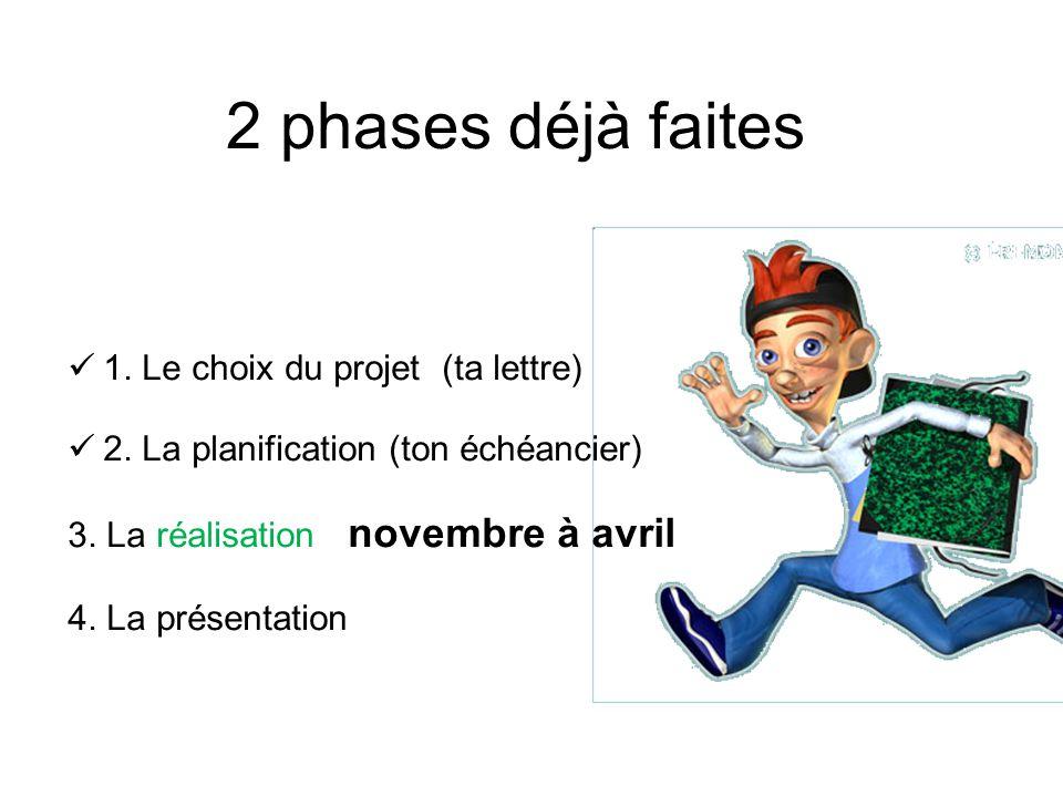 2 phases déjà faites 1. Le choix du projet (ta lettre) 2. La planification (ton échéancier) 3. La réalisation novembre à avril 4. La présentation