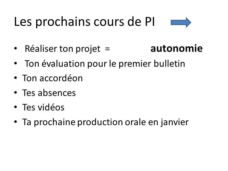 Les prochains cours de PI Réaliser ton projet = autonomie Ton évaluation pour le premier bulletin Ton accordéon Tes absences Tes vidéos Ta prochaine p