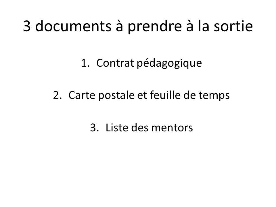 3 documents à prendre à la sortie 1.Contrat pédagogique 2.Carte postale et feuille de temps 3.Liste des mentors
