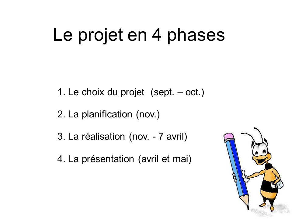 Le projet en 4 phases 1. Le choix du projet (sept. – oct.) 2. La planification (nov.) 3. La réalisation (nov. - 7 avril) 4. La présentation (avril et