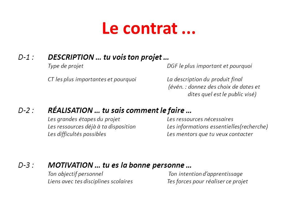 Le contrat... D-1 : DESCRIPTION … tu vois ton projet … Type de projetDGF le plus important et pourquoi CT les plus importantes et pourquoiLa descripti