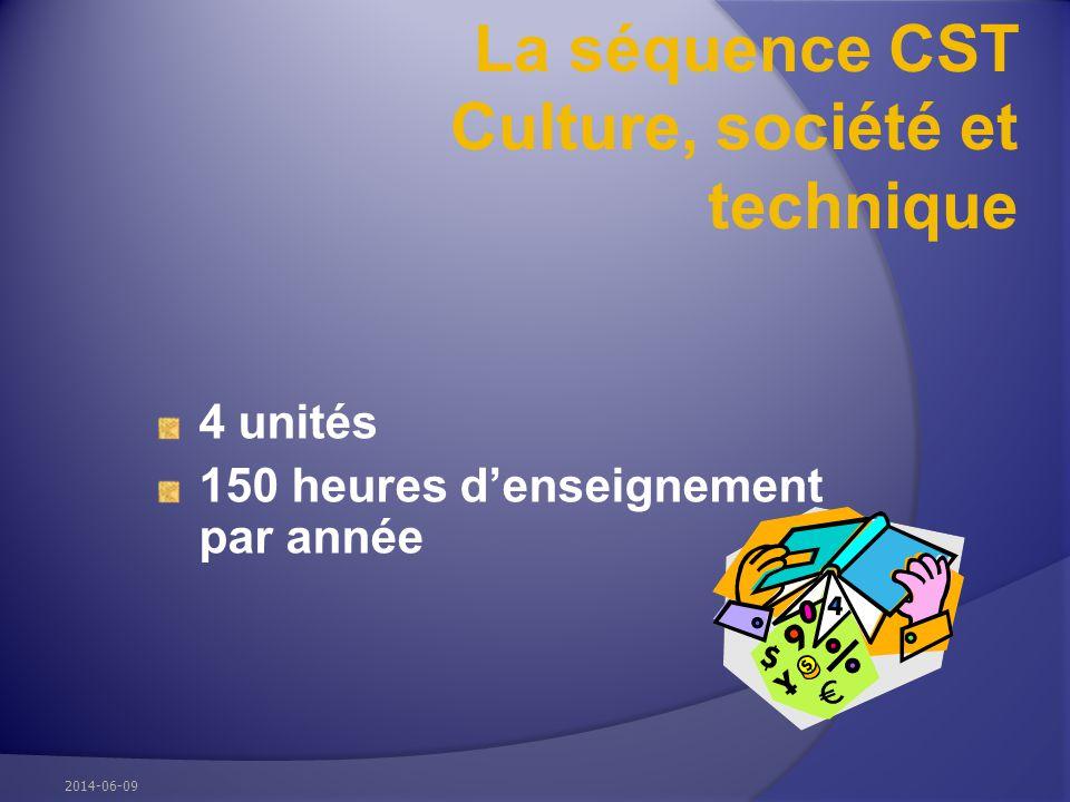 La séquence CST Culture, société et technique 4 unités 150 heures denseignement par année 2014-06-09