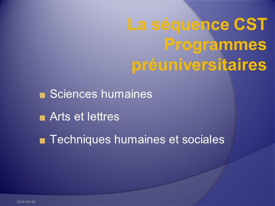 La séquence CST Programmes préuniversitaires Sciences humaines Arts et lettres Techniques humaines et sociales 2014-06-09