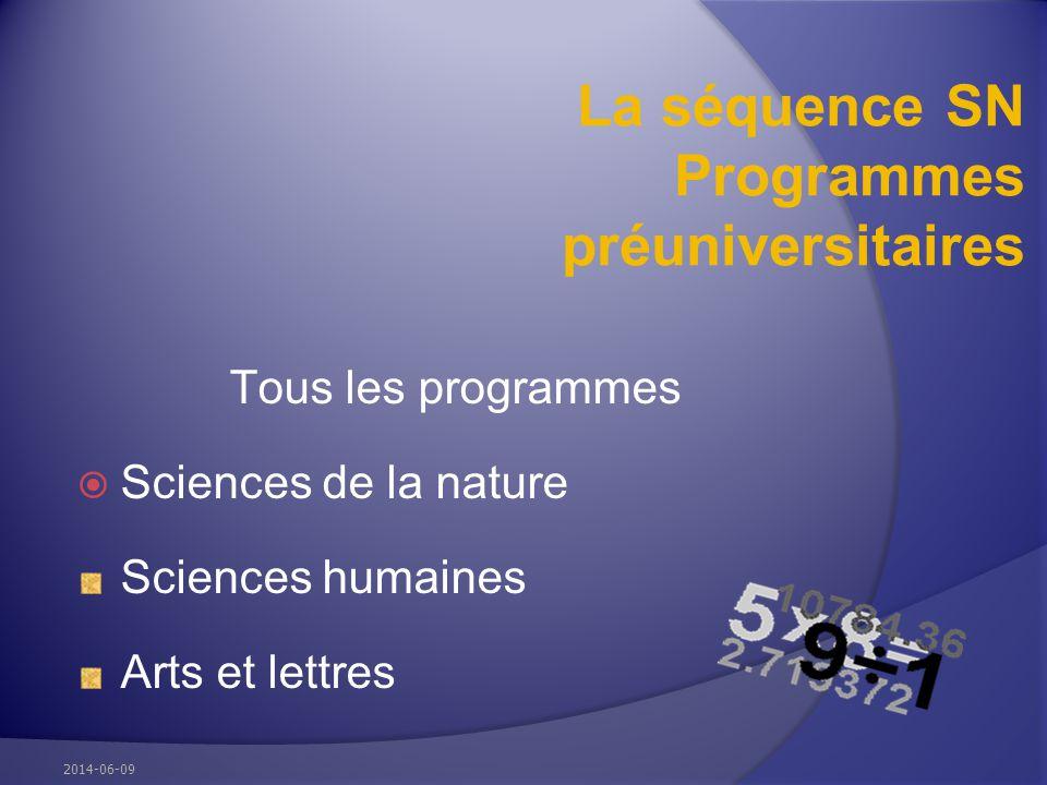 La séquence SN Programmes préuniversitaires Tous les programmes Sciences de la nature Sciences humaines Arts et lettres 2014-06-09