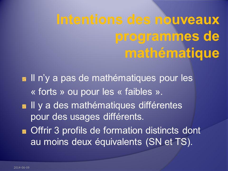 Intentions des nouveaux programmes de mathématique Il ny a pas de mathématiques pour les « forts » ou pour les « faibles ». Il y a des mathématiques d