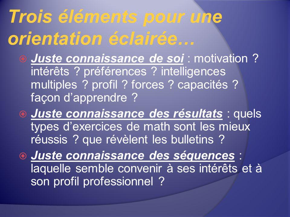 Trois éléments pour une orientation éclairée… Juste connaissance de soi : motivation ? intérêts ? préférences ? intelligences multiples ? profil ? for
