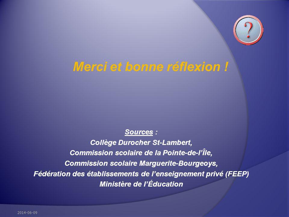 Merci et bonne réflexion ! Sources : Collège Durocher St-Lambert, Commission scolaire de la Pointe-de-lÎle, Commission scolaire Marguerite-Bourgeoys,
