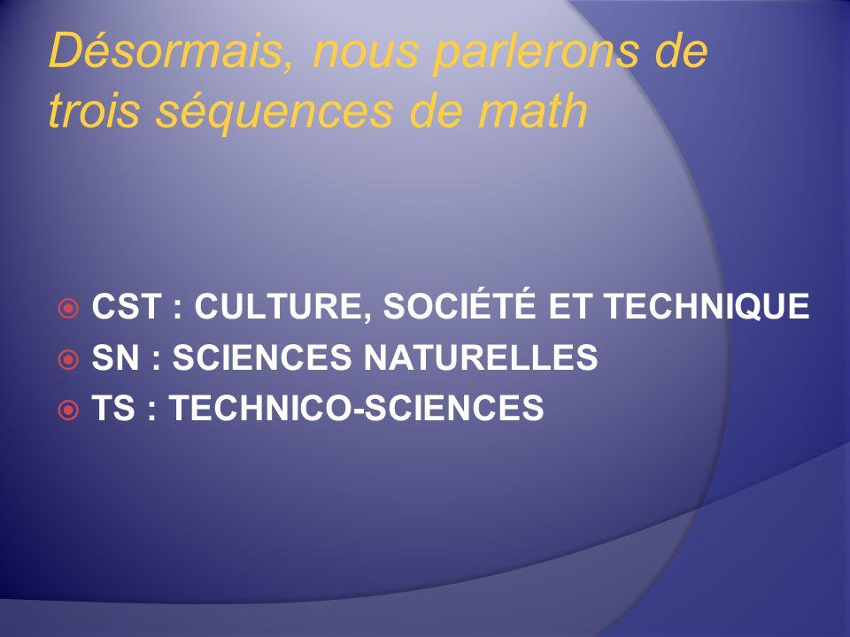 Désormais, nous parlerons de trois séquences de math CST : CULTURE, SOCIÉTÉ ET TECHNIQUE SN : SCIENCES NATURELLES TS : TECHNICO-SCIENCES