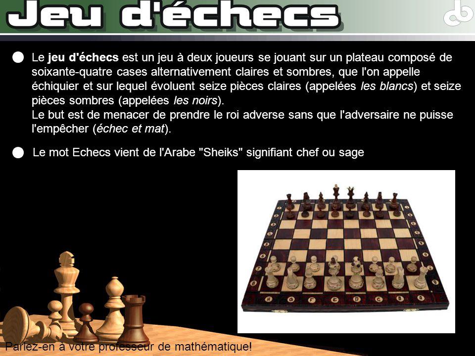 Parlez-en à votre professeur de mathématique! Le jeu d'échecs est un jeu à deux joueurs se jouant sur un plateau composé de soixante-quatre cases alte