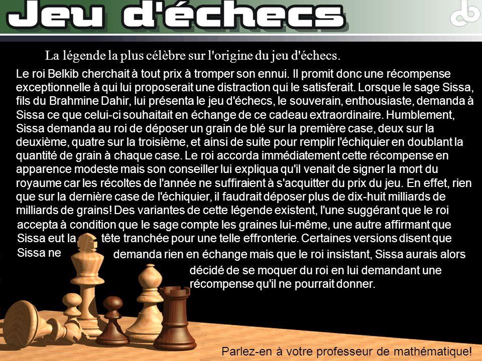 Parlez-en à votre professeur de mathématique! La légende la plus célèbre sur l'origine du jeu d'échecs. Le roi Belkib cherchait à tout prix à tromper