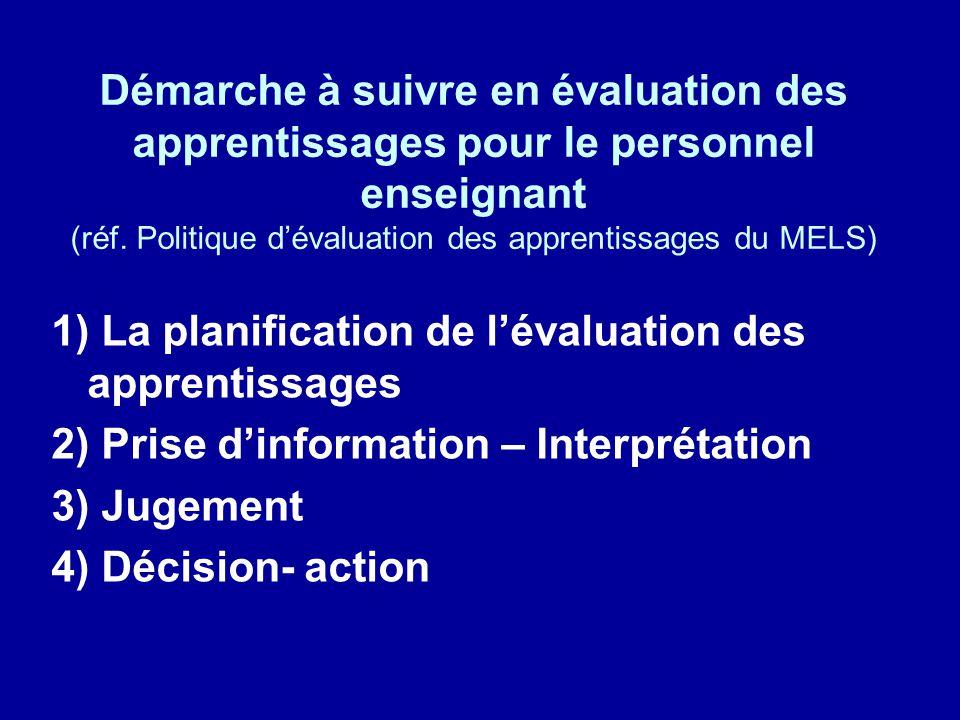Démarche à suivre en évaluation des apprentissages pour le personnel enseignant (réf. Politique dévaluation des apprentissages du MELS) 1) La planific