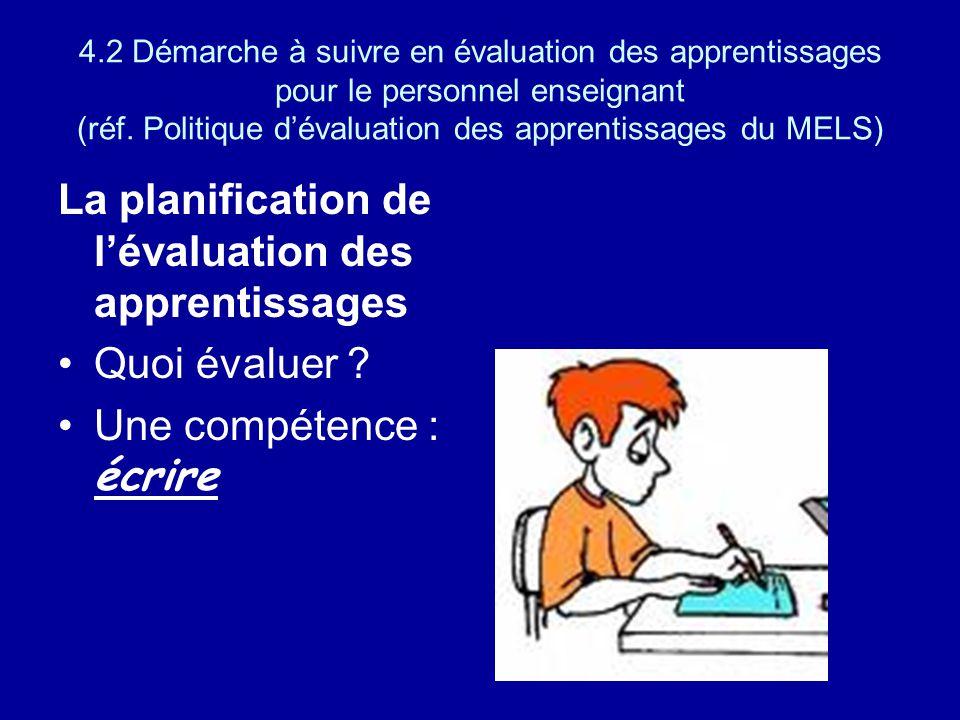 4.2 Démarche à suivre en évaluation des apprentissages pour le personnel enseignant (réf. Politique dévaluation des apprentissages du MELS) La planifi