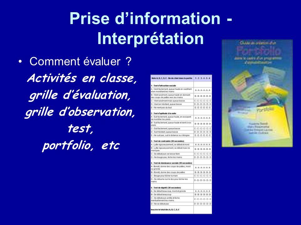 Prise dinformation - Interprétation Comment évaluer ? Activités en classe, grille dévaluation, grille dobservation, test, portfolio, etc