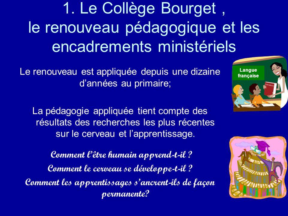 1. Le Collège Bourget, le renouveau pédagogique et les encadrements ministériels Le renouveau est appliquée depuis une dizaine dannées au primaire; La