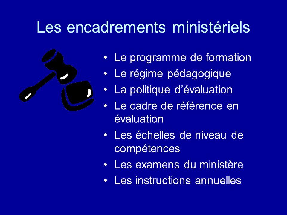 Les encadrements ministériels Le programme de formation Le régime pédagogique La politique dévaluation Le cadre de référence en évaluation Les échelle