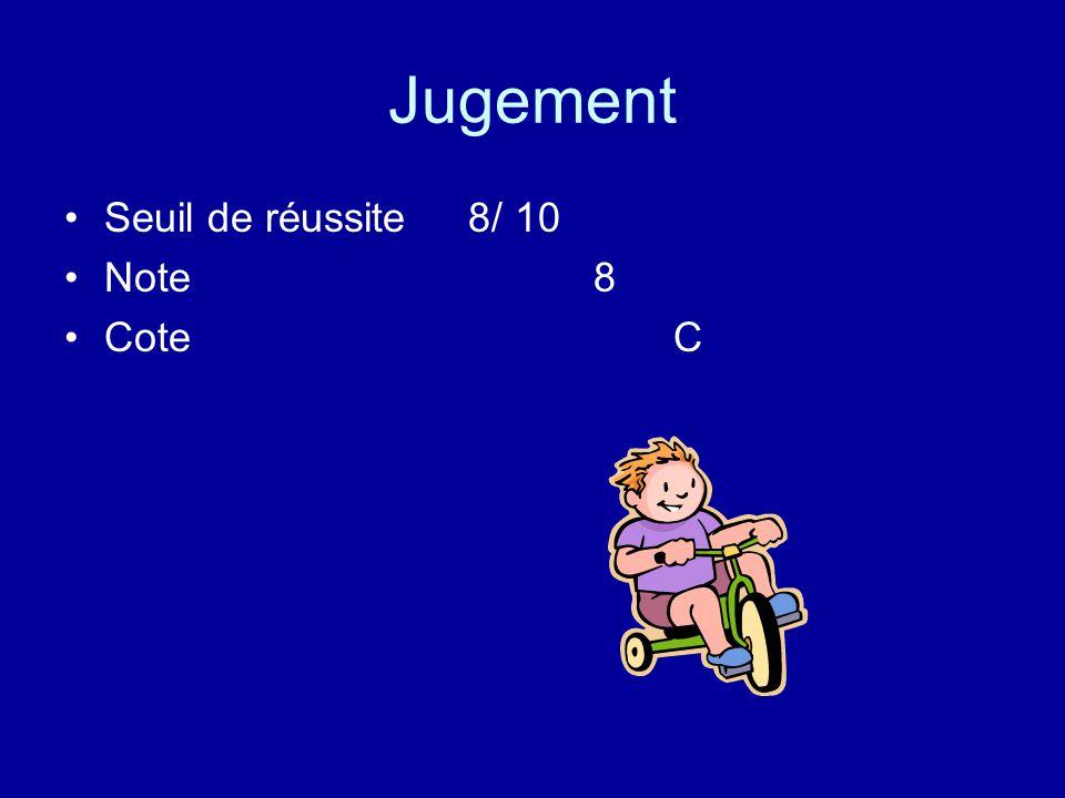 Jugement Seuil de réussite 8/ 10 Note 8 Cote C