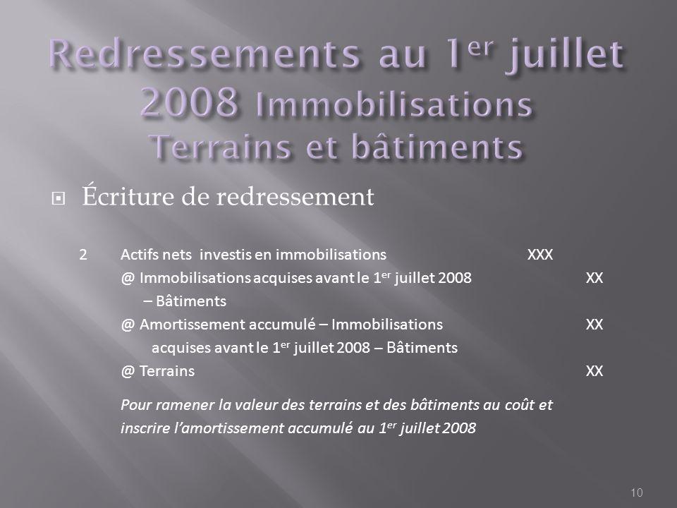 Écriture de redressement 10 2Actifs nets investis en immobilisationsXXX @ Immobilisations acquises avant le 1 er juillet 2008 – Bâtiments XX @ Amortis