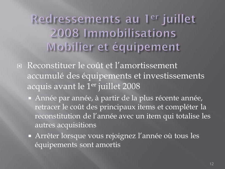 Reconstituer le coût et lamortissement accumulé des équipements et investissements acquis avant le 1 er juillet 2008 Année par année, à partir de la p