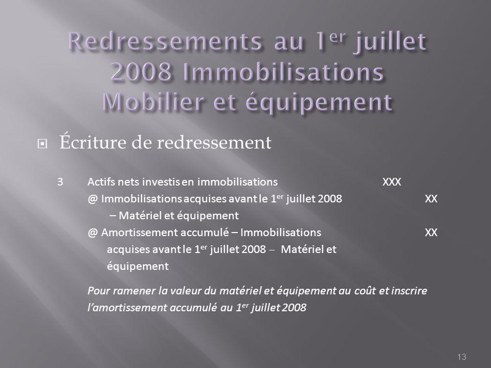 Écriture de redressement 13 3Actifs nets investis en immobilisationsXXX @ Immobilisations acquises avant le 1 er juillet 2008 – Matériel et équipement