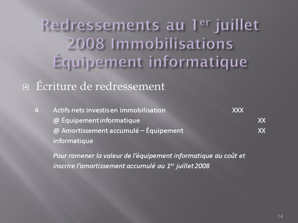 Écriture de redressement 14 4Actifs nets investis en immobilisationXXX @ Équipement informatiqueXX @ Amortissement accumulé – Équipement informatique