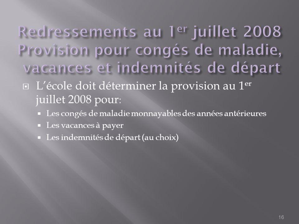 Lécole doit déterminer la provision au 1 er juillet 2008 pour : Les congés de maladie monnayables des années antérieures Les vacances à payer Les inde